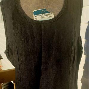 Flax Black Sleevless Textured Linen Top